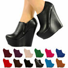 HIGH PLATFORM WEDGES UK EU US SIZES & MANY COLORS FULL TOE ANKLE SHOE BOOTS TINA