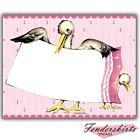 Vintage Retro Two Storks Pink/Blue Baby Shower Announcement Invitation Customize