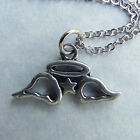 Angel Wings with Halo and Star Pewter Necklace Sweet Young Girl Teen Cute