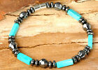 Aqua Blue Chalk Turquoise Stones with Magnetic Hematite Bracelet~ Discounted!!!