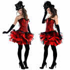 Red Black Burlesque TuTu Mini Skirt and Corset Cotume Carnival Sexy 6-16 Dance