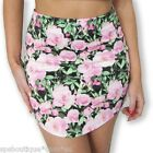 FESTIVAL HIGH WAISTED FLORAL ROSE TUBE ROUND HEM MINI SKIRT 6 8 10 12