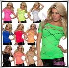 Sexy Women's Summer Top Ladies Casual Fishnet T-Shirt Size 8/10,12/14 UK