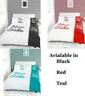 HIS AND HERS SIDE COUPLES DUVET QUILT COVER BEDDING BED SET BLACK , WHITE , TEAL