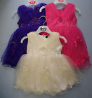 Occasion Dress Party Bridesmaid Christening Flower Girl Net Cream Purple Pink