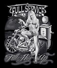 """Biker T-shirt """"Full Service, Last Stop"""" Sizes S To 3XL (To 5XL Possible"""