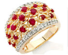 NIB Victoria Wieck Ruby & White Topaz Woven Band Ring-Sterling & Gold Vermeil
