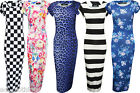 New Womens Ladies Summer Casual Cap Sleeve Floral Print Bodycon Midi Dress 8-14