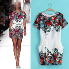 New  Women's Round Neck Short Sleeves Floral Party Cocktail Slim Dress