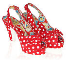 Miss L-Fire Casablanca Peeptoe (Red Polka/Green Polka)