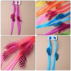 2 BRIGHT NEON COLOURED SYNTHETIC HAIR AND FEATHER MINI CLAMPS