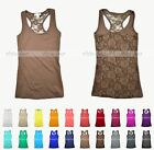 Women's Junior Racerback Top Tank Solid Color Rose Floral Lace See Through