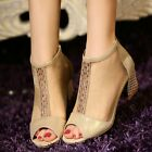 Womens New Leather Mesh Diamond Block Mid Heel Peep Toe Pumps Court Zipped Shoes