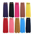 WOMEN LADIES BELTED GYPSY JERSEY MAXI SKIRT DRESS SIZE S/M M/L uk size