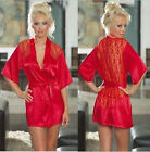 Sexy Red Satin & Lace Baby Doll Bath Robe  with G-String Lingerie One size 8-12