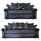 BRAND NEW LAVISH 3+2 SEATER SOFAS - GREY CHENILLE AND BLACK  - SPECIAL EDITION