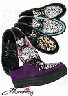 LADIES FLAT PLATFORM WEDGE LACE UP GOTH PUNK REAL SUEDE CREEPERS SHOES BOOTS SI