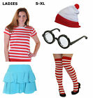 WOMENS RED WHITE STRIPED T SHIRT HAT GLASSES SKIRT BOOK DAY FANCY DRESS COSTUME