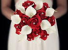 Pick Ribbon Color*elegant RED rose bouquet w/Quality Real touch calla lily