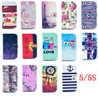 Fashion 14 Styles Flip Card Slot Wallet Leather Stand Case Cover for phone 5 5S