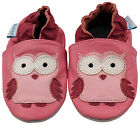 SOFT LEATHER BABY/TODDLER SHOES 0-6, 6-12, 12-18, 18-24 MTHS & 2-3 YRS PINK OWL