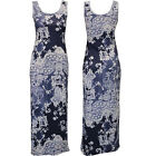 NEW LADIES FLORAL PRINT DENIM EFFECT SLEEVELESS JERSEY BODYCON MAXI DRESS