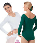 Eurotard 10265 long sleeved leotard scoop neck lined dance praise womens new