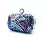 Brand New Diamante Rhinestone Clip Evening Cocktail Hard Clutch Handbag Bag Blue
