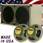 2x12 Guitar Spker Cabinet Blonde white Tolex W/Celestion Green Back speakers