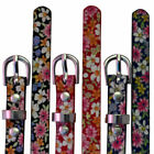 Womens Belt Ladies Fashion Floral Print Thin Strap Waist Band Patent Plus Size