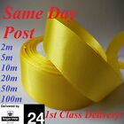 """Satin Ribbon- All Colours Quality 25mm, 1"""" 25mm wide YELLOW 2 20...50 100m Craft"""