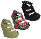 NEW WOMENS LADIES FAUX SUEDE PEEPTOE PLATFORM BUCKLE WEDGES HEELS SHOES SIZE
