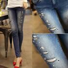 Women Sexy Skinny Beads Blue Jeans Denim Jeans Jeggings Slim Pencil Pants Tights