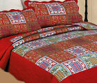 ETHNIC RED INDIAN PATCHWORK BEDSPREAD QUILTED THROW BOYS TEENAGERS MULTI COLOUR
