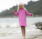 Girls Childs Mitty James Pink & White Towelling Long Hooded Beach Top Robe Dress