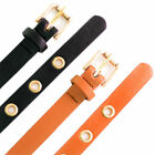 New Womens Belt Ladies Faux Leather Eyelets Buckle Strap Thin Waist Plus Size