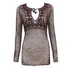 Crochet Long Sleeve Beach Dress  womens Size