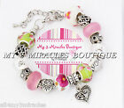Mom Grandma Wife Sister Charm Bracelet PINK GREEN Glass Heart Mothers Day Love