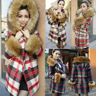 NEW Women's Grid Wool Blend Jacket Fur Collar Hooded Double-breasted Long Coat