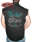 VINTAGE MOTORCYCLES Sleeveless DENIM Shirt Biker Cut Road Tested Performance