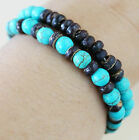 A SET OF 2 BLUE TURQUOISE BROWN COCONUT WOOD STRETCH BRACELET - FOR MEN/WOMEN