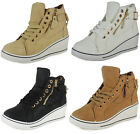 NEW LADIES WOMENS ANKLE TRAINERS HI TOP WEDGE LACE UP GOLD CHAIN FLAT SHOE SIZE