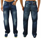 Mens Designer GIO GOI Jeans Regular Bootcut Leg Fit Trendy Denim Bottoms Pants