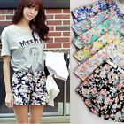 Women's Blooming Flowers Floral Print High Elastic Waist Shorts Mini Short Pants