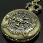 Antique Bronze Variety Pocket Watch Necklace Quartz Pendant Chain Mens Womens