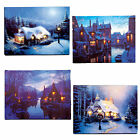 Christmas 40cm x 30cm LED Light up Canvas Picture - House Canal G&H - 6 Designs