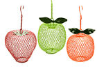 NEW 3 ASSORTED FRUIT SHAPED HANGING BIRD FEEDER 195282
