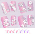 3D Nail Art Stickers Decal Silver Lace Snowflakes Heart Bow Music Pink Crystal