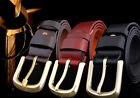 Mens Solid Brass Buckle Real Genuine Leather Belt One Ply Full Grain Leather