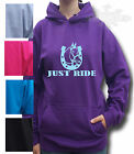 HORSE RIDING HOODIE Equestrian  KIDS & ADULT`S HOODIE JUST RIDE FRONT PRINT